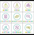 money operations icons set vector image