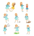 Older Girl Bullying Young Children And Behaving vector image