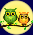 Owls on branch with full moon vector image