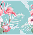 pink flamingo graphic palm leaves and hibiscus vector image vector image