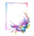 rainbow frame with flower on white vector image vector image