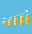 rising stacks golden coins cartoon vector image