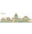 rome italy city skyline with color buildings vector image vector image