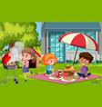 scene with happy children eating food in park vector image vector image