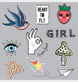 set of fashion trendy patches for girl vector image