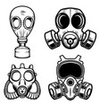 set of gas masks isolated on white background vector image