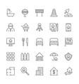 set real estate line icons bathroom vector image