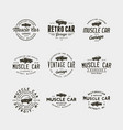 set vintage muscle car garage logos vector image