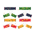 set with colorful christmas crackers on white vector image