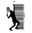 silhouette of a tennis player and barcode vector image vector image
