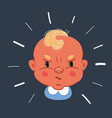 small angry baby boy face vector image vector image