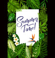 summer banner with tropical palm and exotic flower vector image vector image