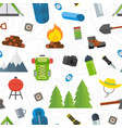tourist equipment seamless pattern mountain hike vector image