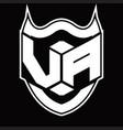 va logo monogram design isolated with shield vector image vector image