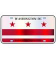 washington dc license plate flag vector image vector image