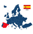 map of europe with highlighted spain vector image