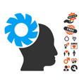 brain wheel icon with dating bonus vector image