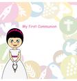 Girl First Communion Invitation vector image