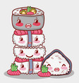 asian food cute kawaii cartoon vector image vector image