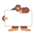 bigfoot holding banner blank yeti and white blank vector image vector image