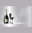 black wine bottle with black wine glass on sparks vector image vector image
