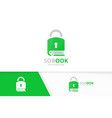 book and lock logo combination safe and vector image vector image