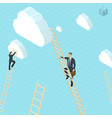 businessmen ladder climbing to clouds vector image vector image