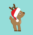 christmas reindeer in red hat vector image