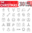 christmas thin line icon set new year symbols vector image