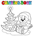 coloring book christmas teddy bear vector image