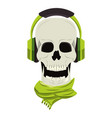 cool skull with headphones and scarf cartoon vector image vector image