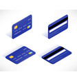 credit card isometric icons set vector image vector image