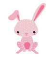 cute bunny cartoon on white board vector image vector image
