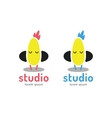 Cute chick silhouette logo icon Chicken music vector image vector image