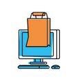 desktop computer with bag shopping vector image vector image