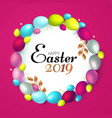 easter wreath with realistic colorful eggs vector image