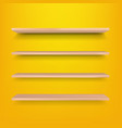 empty wooden shelf isolated yellow background vector image vector image