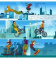 Extreme City Sport Flat Banners Set vector image vector image