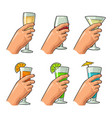 female hand holding a glasses cocktails vector image
