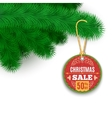 Fir Branches And Sale Label vector image vector image