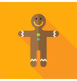 Flat Design Gingerbread Man Cookie Icon vector image vector image