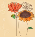 floral background sunflower and other abstract vector image vector image