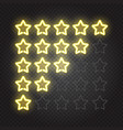 glowing yellow neon lights 5 stars rating vector image