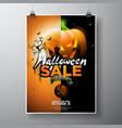 hallowen sale with pumpkin moon cemetery and bats vector image vector image