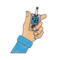 hand holding glucometer vector image vector image