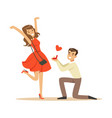 happy man proposing marriage to beautiful woman vector image vector image