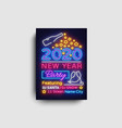happy new year 2020 party neon poster new vector image