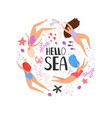 hello sea cartoon swimming women vector image