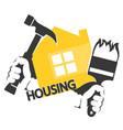 housing repair tool in hand vector image vector image