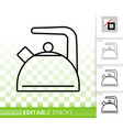 kettle simple kitchen ware black line icon vector image vector image